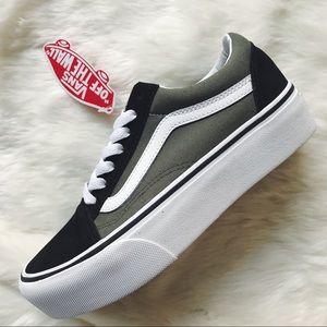 085110c07e Vans Shoes - Vans Green + Black Old Skool Platform Sneakers